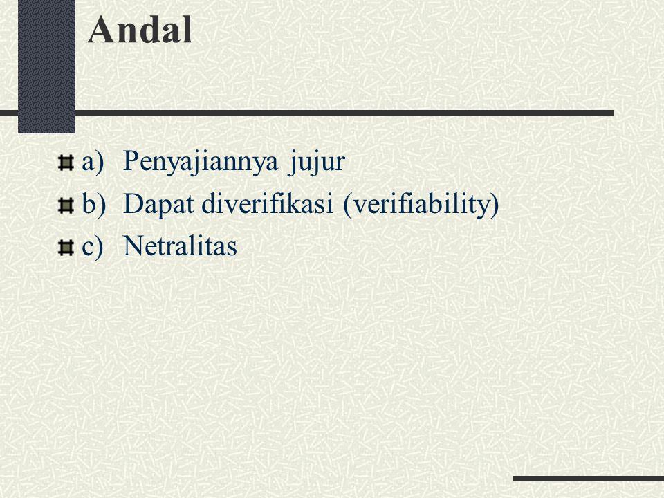Andal a) Penyajiannya jujur b) Dapat diverifikasi (verifiability)