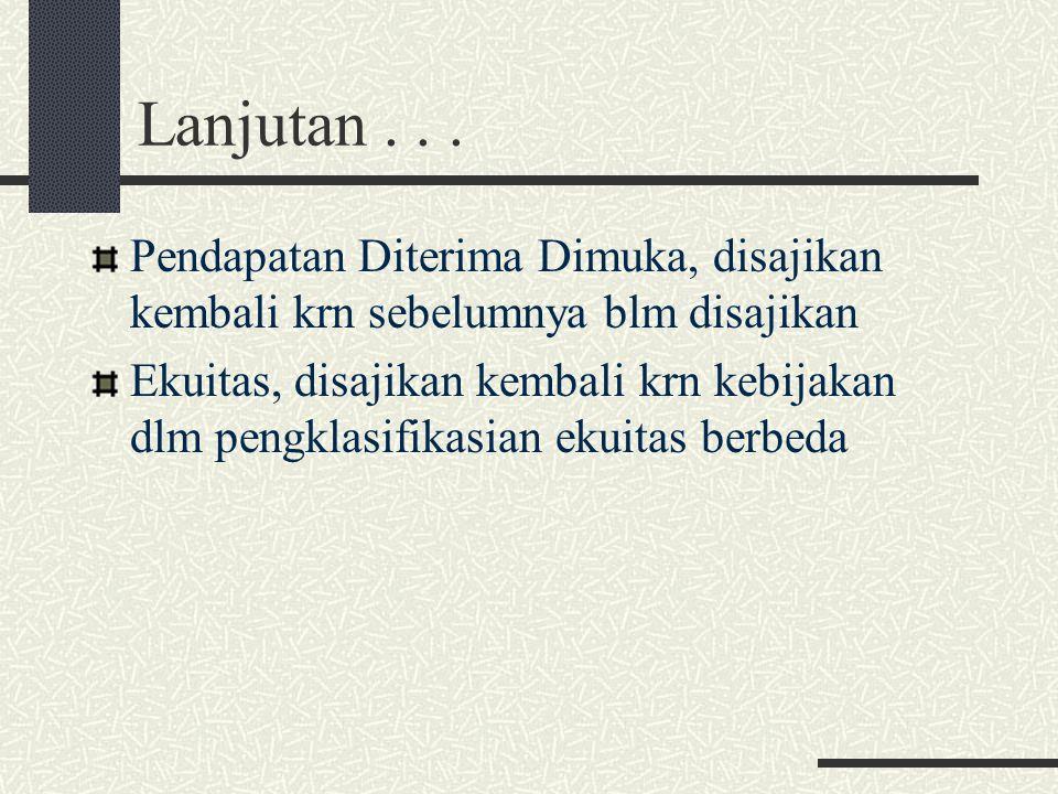 Lanjutan . . . Pendapatan Diterima Dimuka, disajikan kembali krn sebelumnya blm disajikan.
