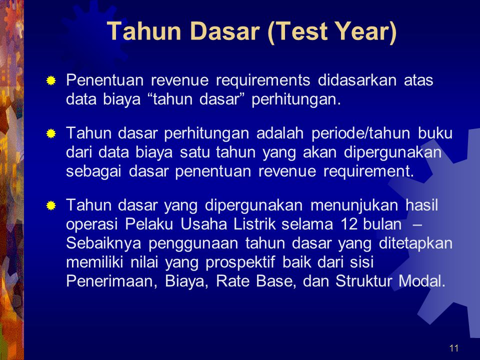 Tahun Dasar (Test Year)