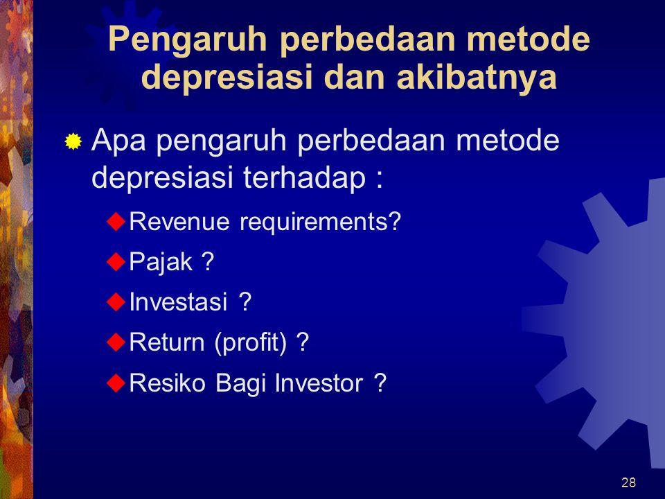 Pengaruh perbedaan metode depresiasi dan akibatnya