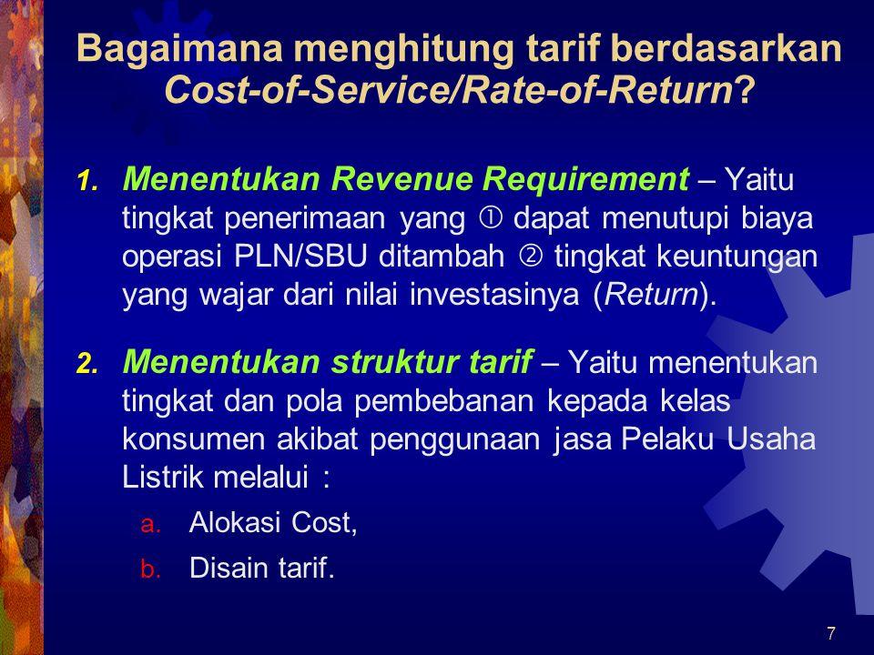 Bagaimana menghitung tarif berdasarkan Cost-of-Service/Rate-of-Return