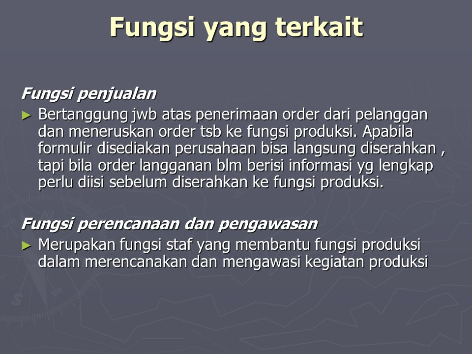 Fungsi yang terkait Fungsi penjualan