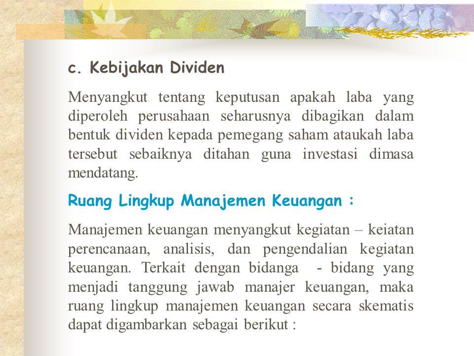 c. Kebijakan Dividen
