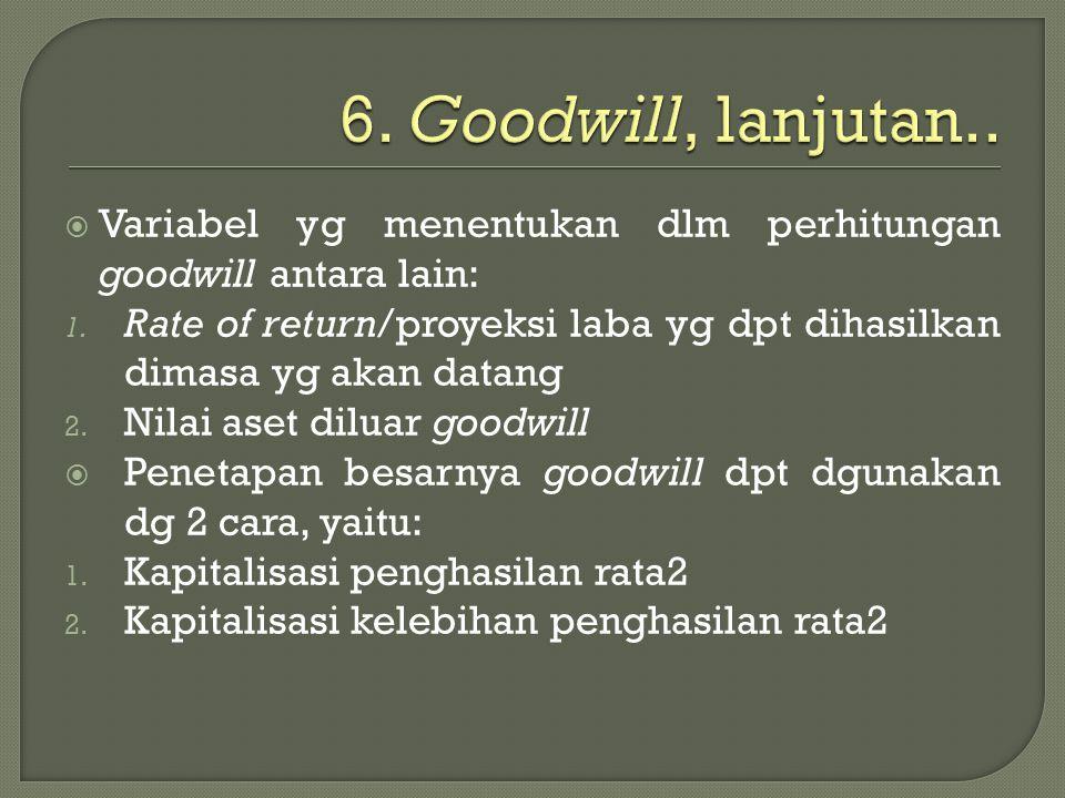 6. Goodwill, lanjutan.. Variabel yg menentukan dlm perhitungan goodwill antara lain: