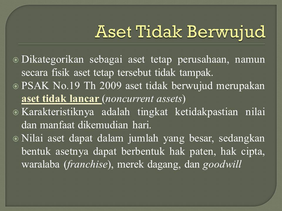 Aset Tidak Berwujud Dikategorikan sebagai aset tetap perusahaan, namun secara fisik aset tetap tersebut tidak tampak.