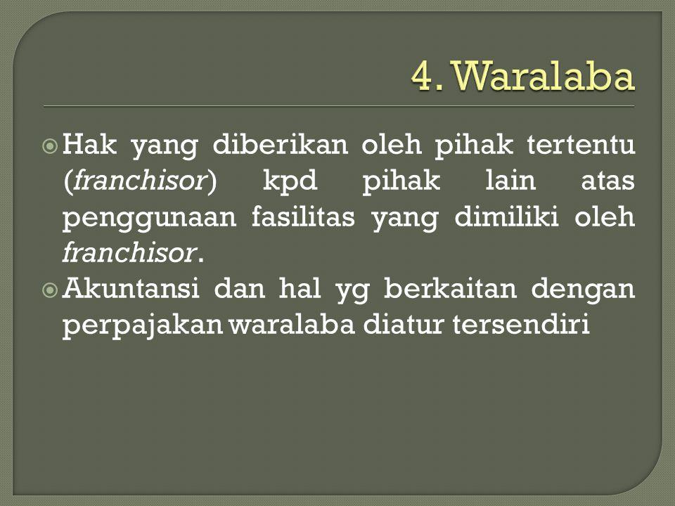 4. Waralaba Hak yang diberikan oleh pihak tertentu (franchisor) kpd pihak lain atas penggunaan fasilitas yang dimiliki oleh franchisor.