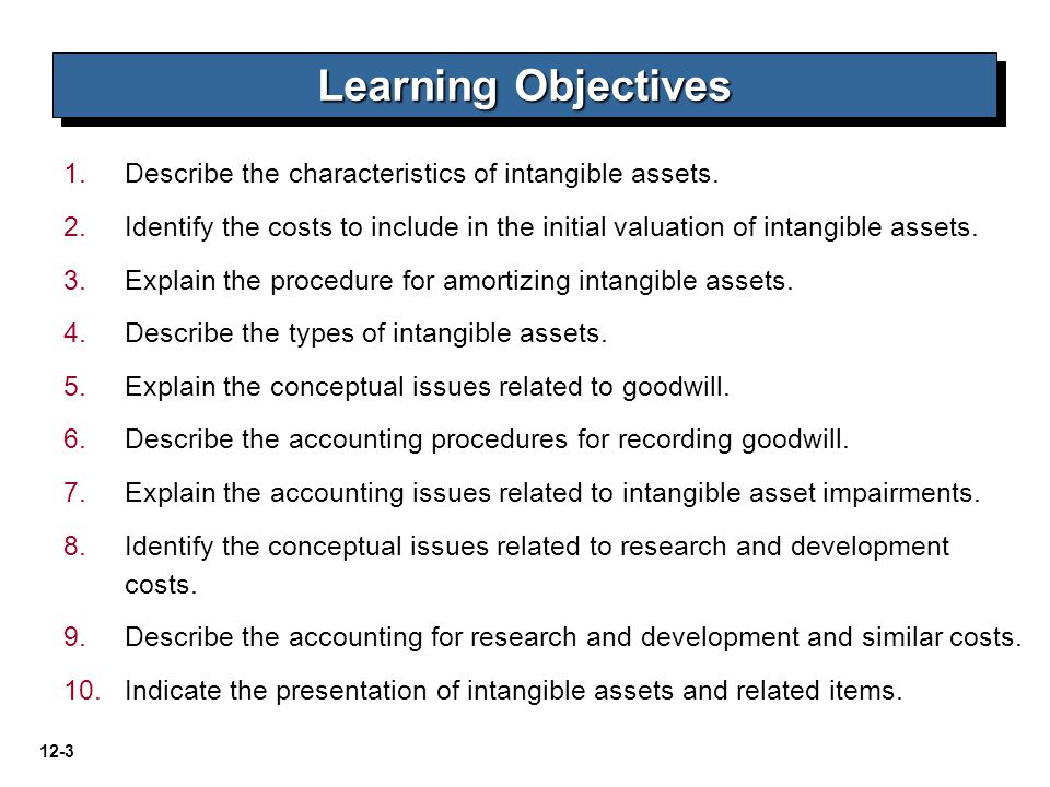Learning Objectives Describe the characteristics of intangible assets.