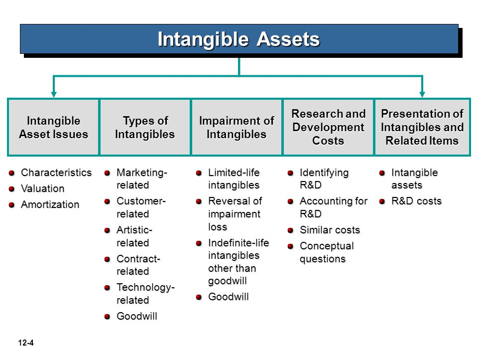 Intangible Assets Intangible Asset Issues Types of Intangibles