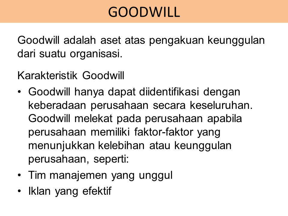 GOODWILL Goodwill adalah aset atas pengakuan keunggulan dari suatu organisasi. Karakteristik Goodwill.