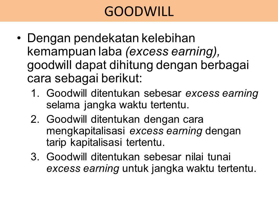 GOODWILL Dengan pendekatan kelebihan kemampuan laba (excess earning), goodwill dapat dihitung dengan berbagai cara sebagai berikut: