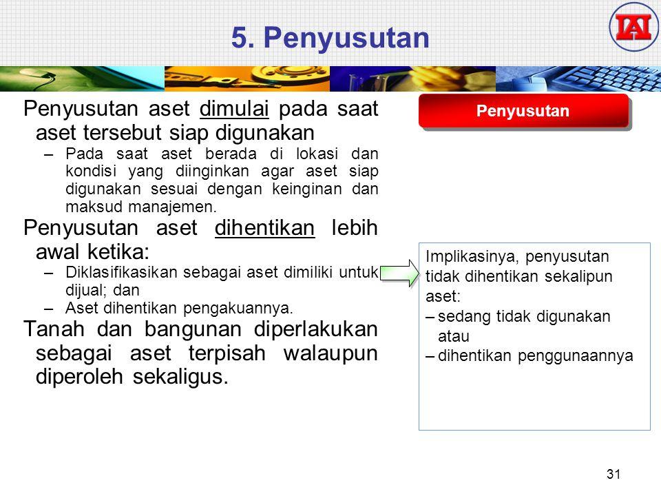 5. Penyusutan Penyusutan aset dimulai pada saat aset tersebut siap digunakan.