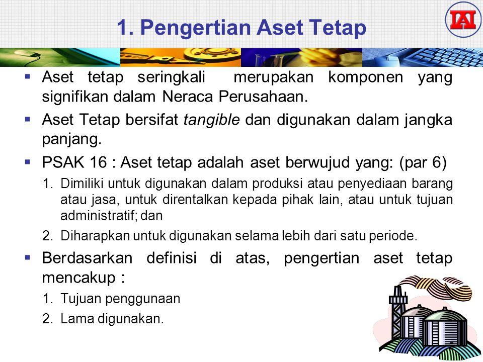 1. Pengertian Aset Tetap Aset tetap seringkali merupakan komponen yang signifikan dalam Neraca Perusahaan.
