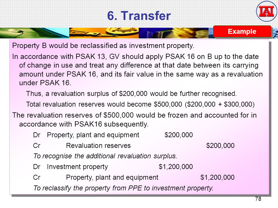 6. Transfer Property B would be reclassified as investment property.