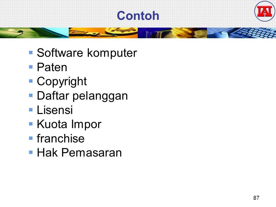 Contoh Software komputer Paten Copyright Daftar pelanggan Lisensi