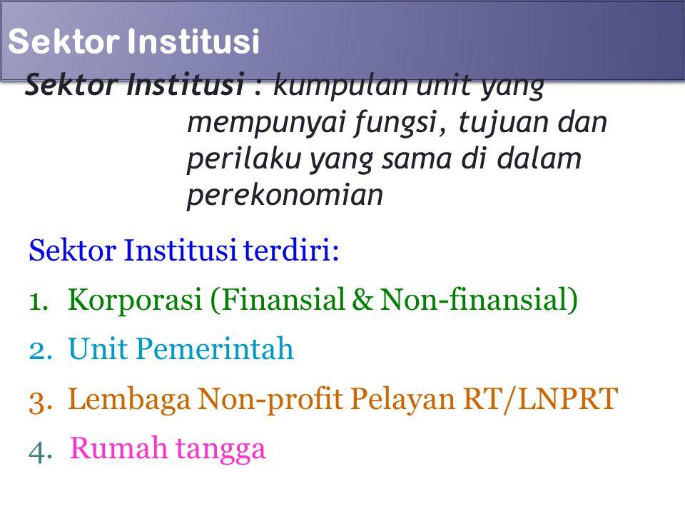 Sektor Institusi Sektor Institusi : kumpulan unit yang mempunyai fungsi, tujuan dan perilaku yang sama di dalam perekonomian.