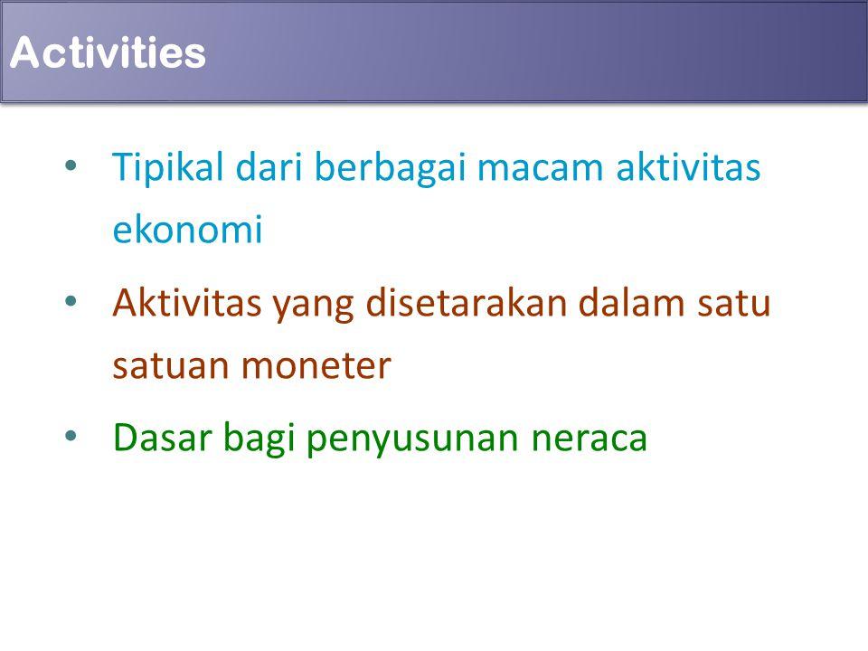 Activities Tipikal dari berbagai macam aktivitas ekonomi. Aktivitas yang disetarakan dalam satu satuan moneter.