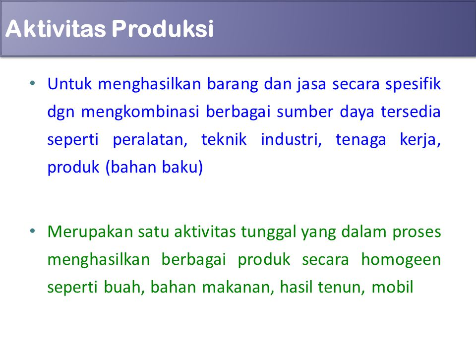 Aktivitas Produksi