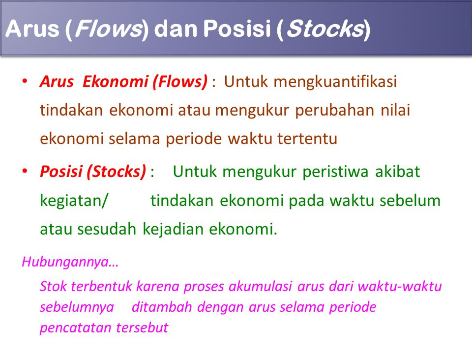 Arus (Flows) dan Posisi (Stocks)