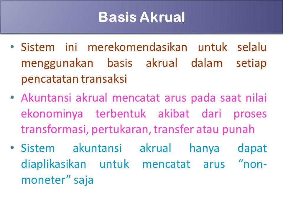 Basis Akrual Sistem ini merekomendasikan untuk selalu menggunakan basis akrual dalam setiap pencatatan transaksi.