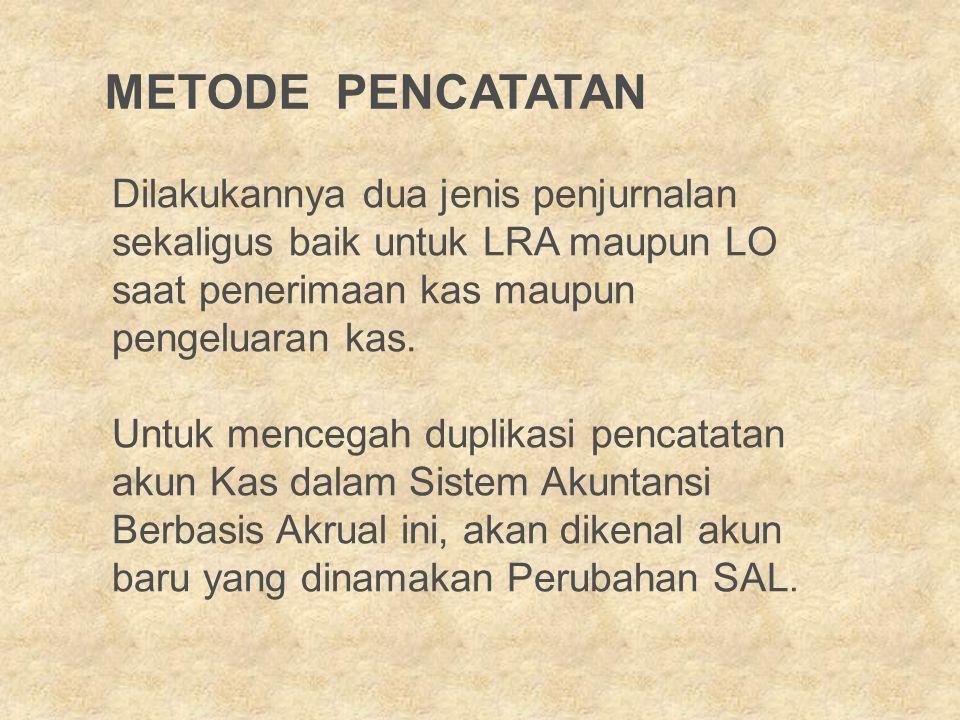 METODE PENCATATAN Dilakukannya dua jenis penjurnalan sekaligus baik untuk LRA maupun LO saat penerimaan kas maupun pengeluaran kas.