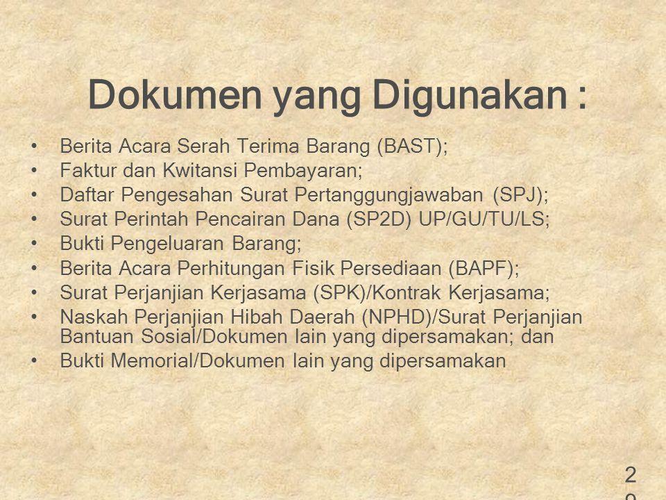 Dokumen yang Digunakan :