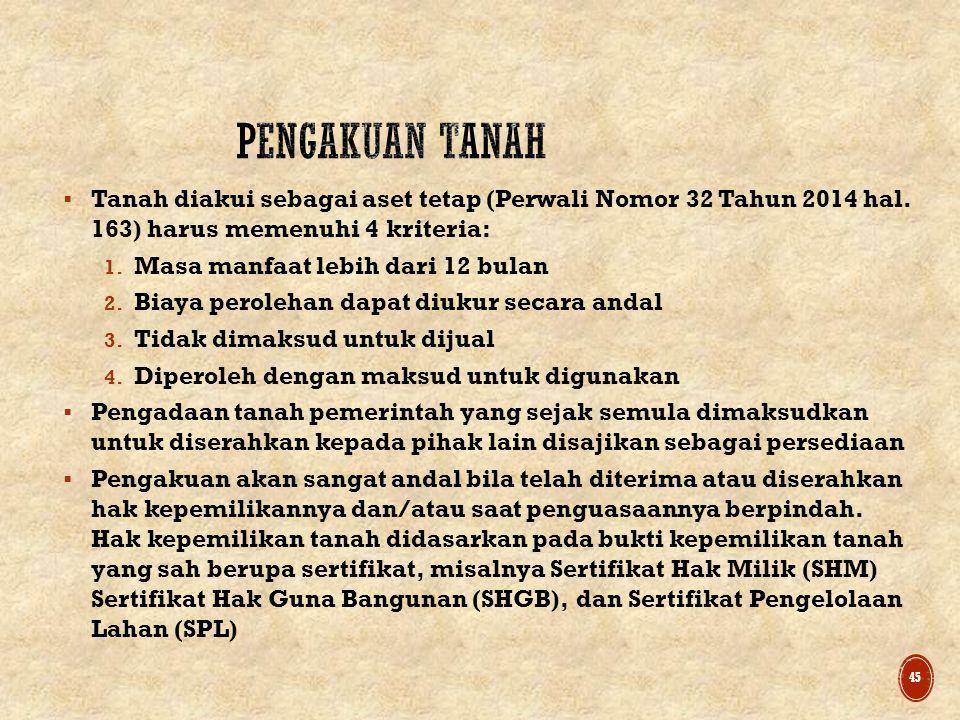 PENGAKUAN TANAH Tanah diakui sebagai aset tetap (Perwali Nomor 32 Tahun 2014 hal. 163) harus memenuhi 4 kriteria: