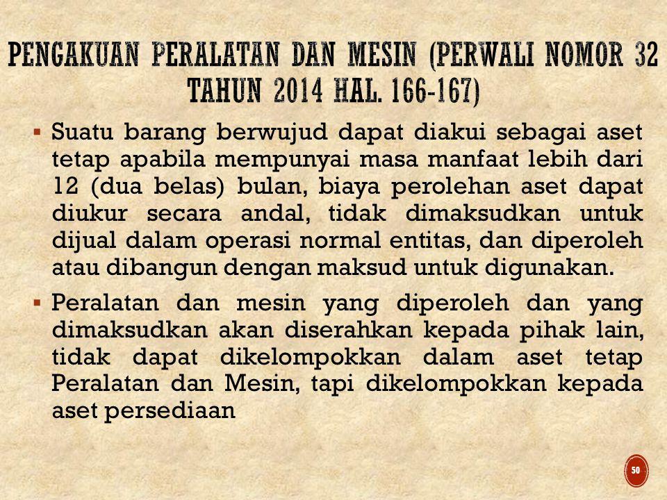 PENGAKUAN PERALATAN DAN MESIN (PERWALI NOMOR 32 Tahun 2014 hal