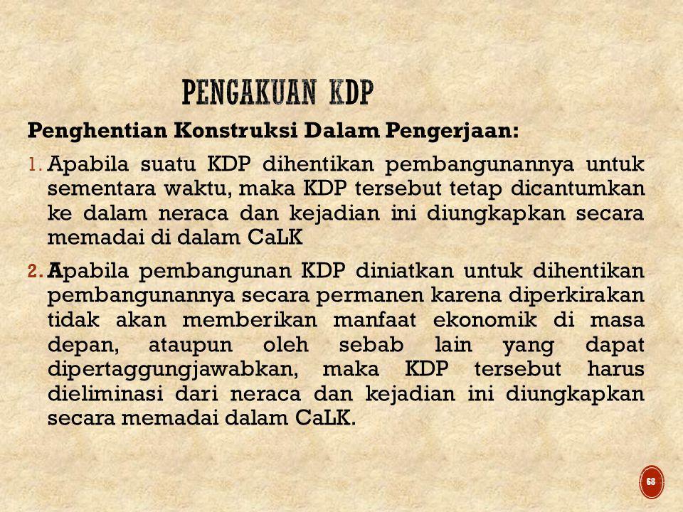 PENGAKUAN KDP Penghentian Konstruksi Dalam Pengerjaan: