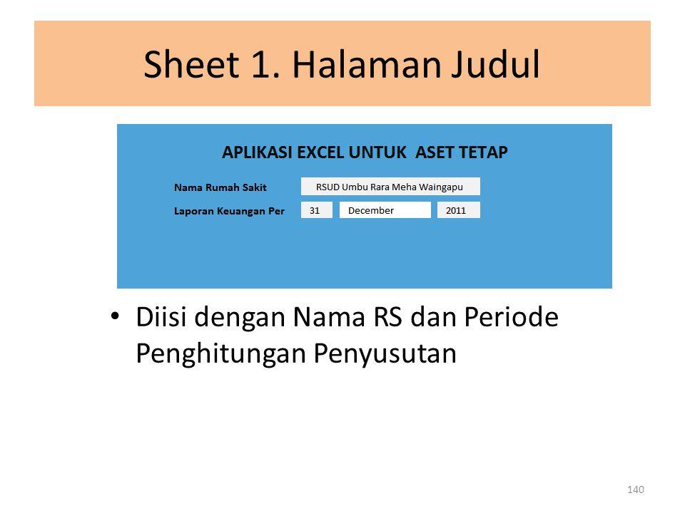 Sheet 1. Halaman Judul Diisi dengan Nama RS dan Periode Penghitungan Penyusutan