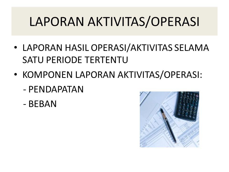 LAPORAN AKTIVITAS/OPERASI