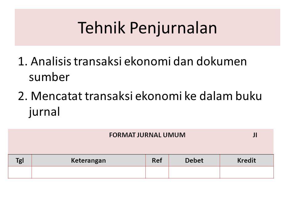 Tehnik Penjurnalan 1. Analisis transaksi ekonomi dan dokumen sumber 2. Mencatat transaksi ekonomi ke dalam buku jurnal
