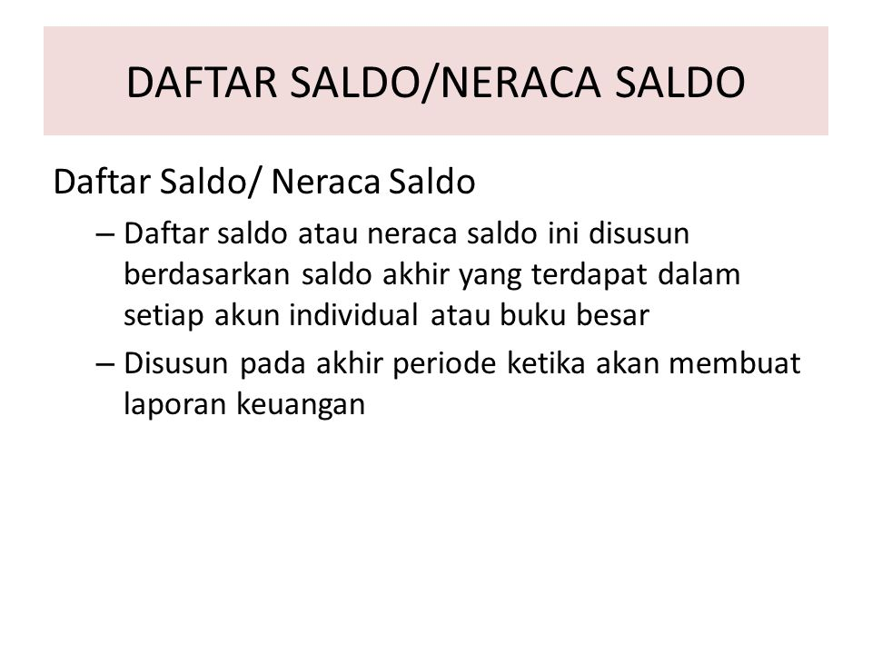DAFTAR SALDO/NERACA SALDO