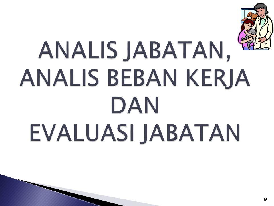 ANALIS JABATAN, ANALIS BEBAN KERJA DAN EVALUASI JABATAN