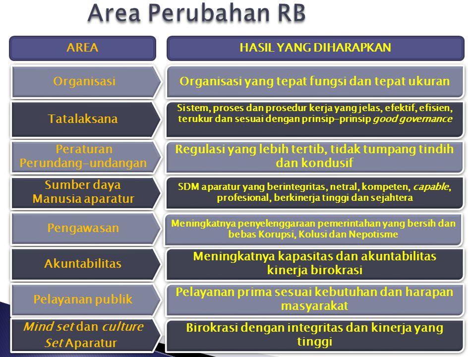 Area Perubahan RB AREA HASIL YANG DIHARAPKAN Organisasi