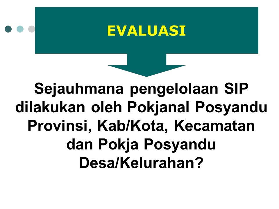 EVALUASI Sejauhmana pengelolaan SIP dilakukan oleh Pokjanal Posyandu Provinsi, Kab/Kota, Kecamatan dan Pokja Posyandu Desa/Kelurahan
