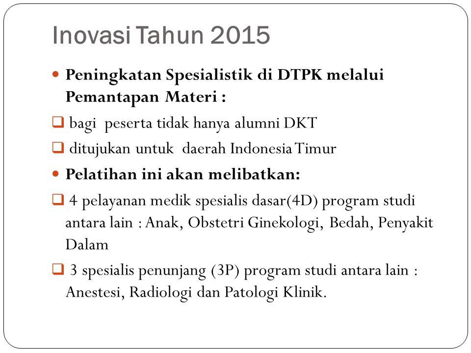Inovasi Tahun 2015 Peningkatan Spesialistik di DTPK melalui Pemantapan Materi : bagi peserta tidak hanya alumni DKT.