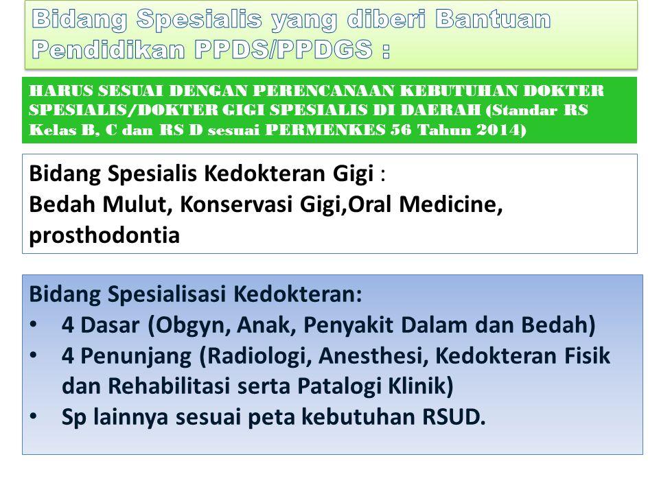 Bidang Spesialis yang diberi Bantuan Pendidikan PPDS/PPDGS :