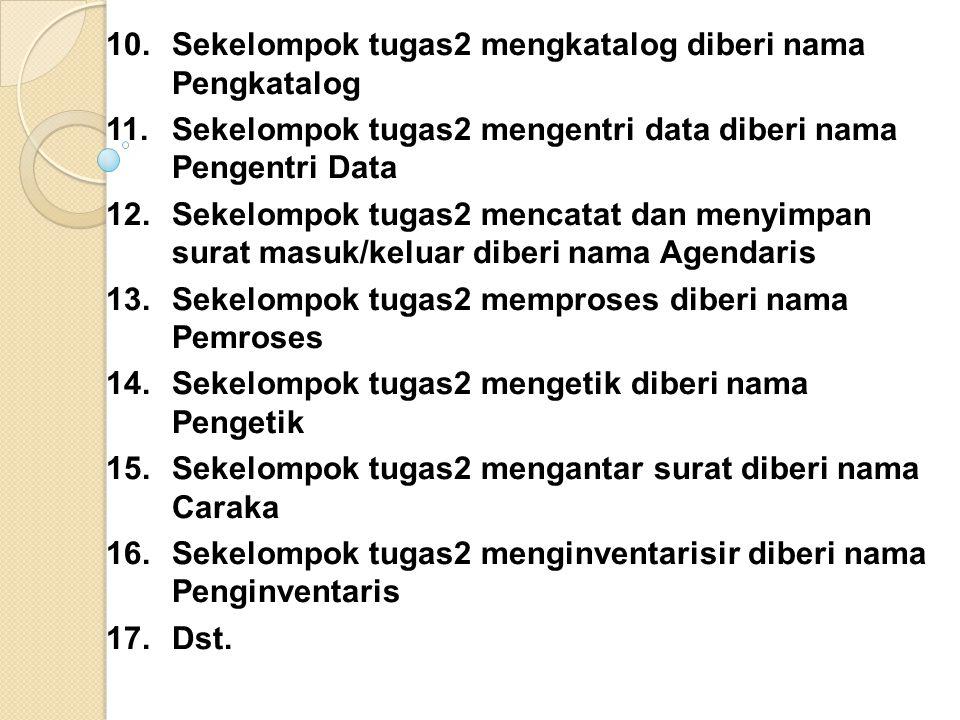 10. Sekelompok tugas2 mengkatalog diberi nama Pengkatalog