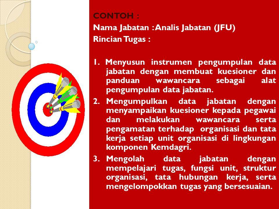 CONTOH : Nama Jabatan : Analis Jabatan (JFU) Rincian Tugas :