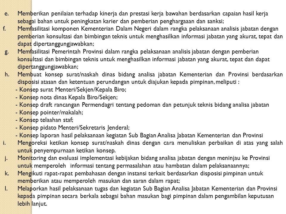 - Konsep surat Menteri/Sekjen/Kepala Biro;