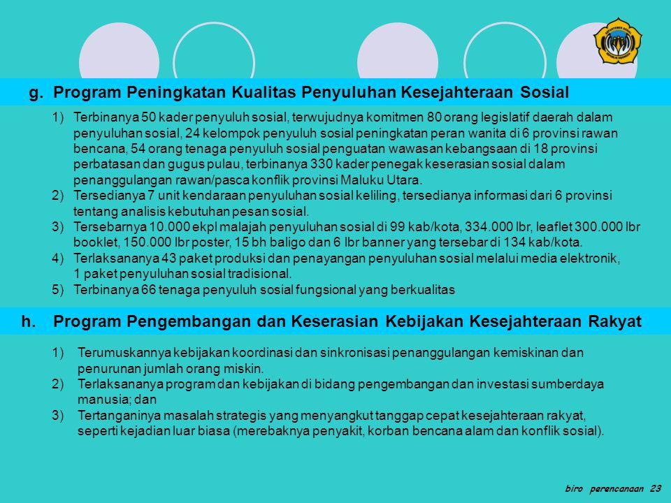 g. Program Peningkatan Kualitas Penyuluhan Kesejahteraan Sosial