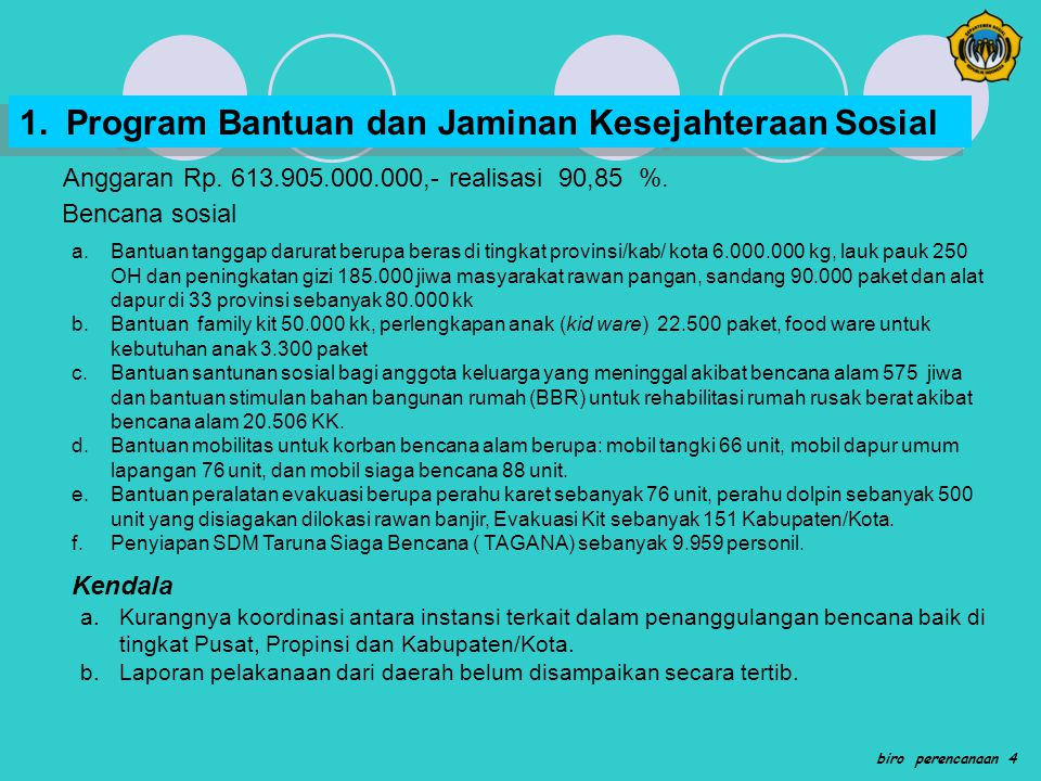 1. Program Bantuan dan Jaminan Kesejahteraan Sosial
