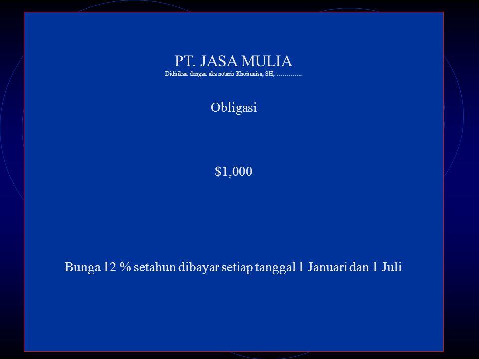 PT. JASA MULIA Obligasi $1,000