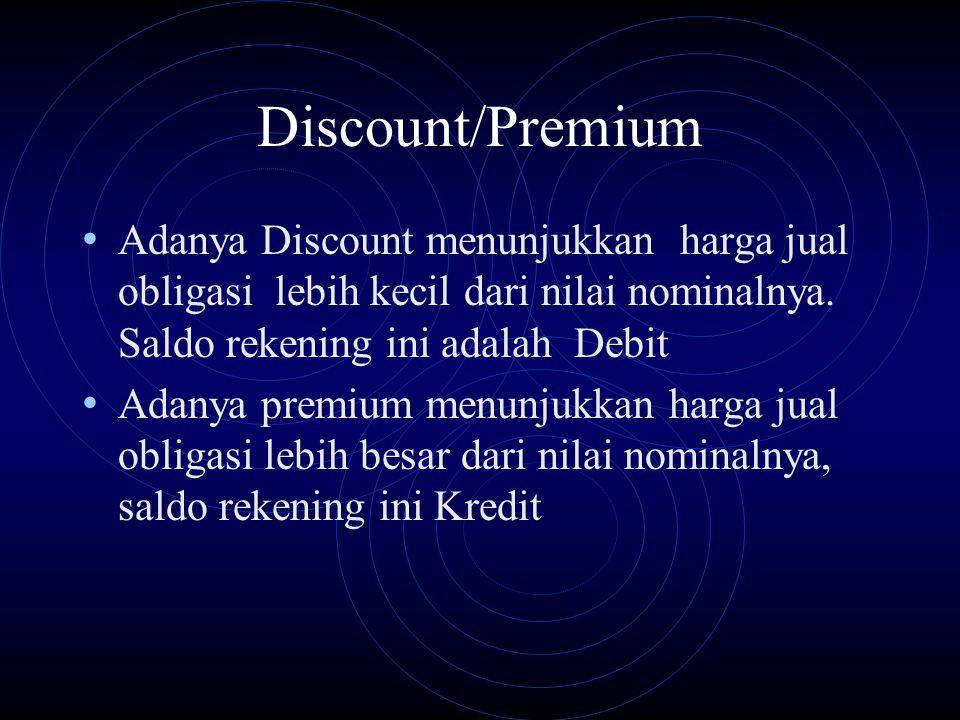 Discount/Premium Adanya Discount menunjukkan harga jual obligasi lebih kecil dari nilai nominalnya. Saldo rekening ini adalah Debit.