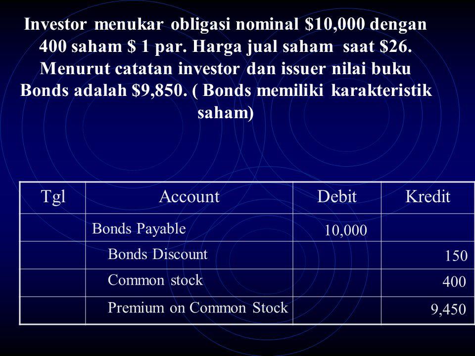 Investor menukar obligasi nominal $10,000 dengan 400 saham $ 1 par
