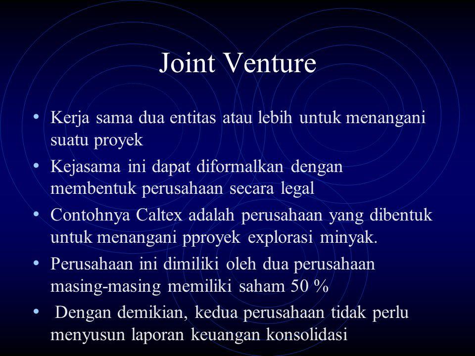 Joint Venture Kerja sama dua entitas atau lebih untuk menangani suatu proyek.