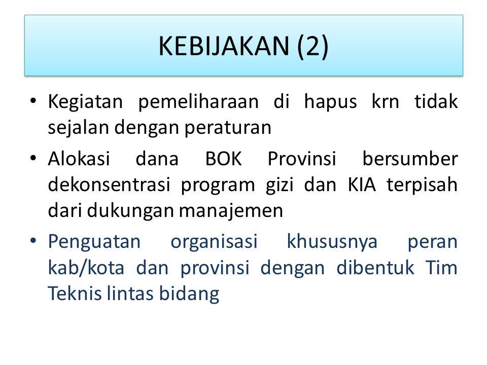 KEBIJAKAN (2) Kegiatan pemeliharaan di hapus krn tidak sejalan dengan peraturan.