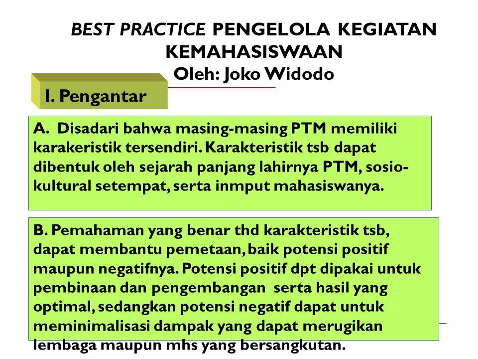 BEST PRACTICE PENGELOLA KEGIATAN KEMAHASISWAAN