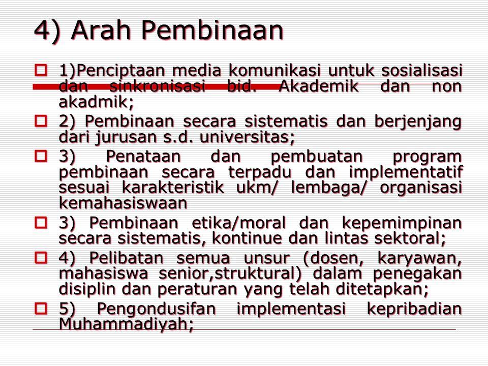 4) Arah Pembinaan 1)Penciptaan media komunikasi untuk sosialisasi dan sinkronisasi bid. Akademik dan non akadmik;