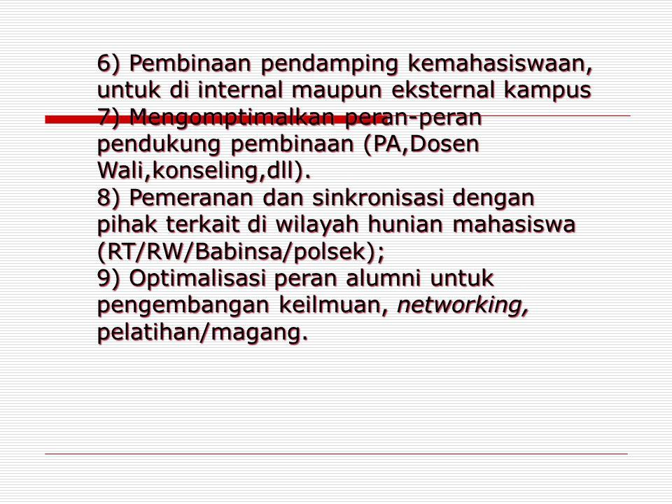 6) Pembinaan pendamping kemahasiswaan, untuk di internal maupun eksternal kampus